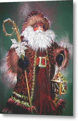 Santa Claus -dressed All In Fur From His Head To His Foot. Metal Print by Shelley Schoenherr