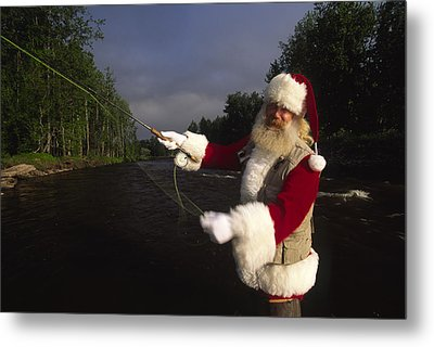 Santa Claus Fly Fishing Metal Print by Michael Melford