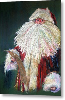 Santa Claus  Making A List And Checking It Twice Metal Print by Shelley Schoenherr