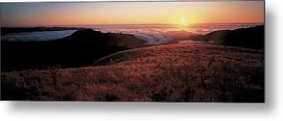 Santa Cruz Mountains At Sunset Ca Usa Metal Print by Panoramic Images