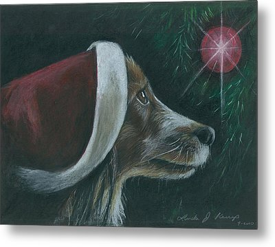 Santa Dog Metal Print by Linda Nielsen
