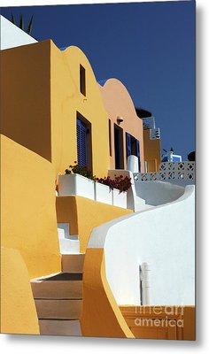 Santorini Greece Architectual Line Metal Print by Bob Christopher