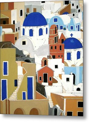Santorini Metal Print by Stephanie Moore