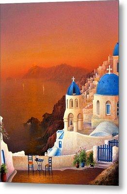 Santorini Sunset Metal Print