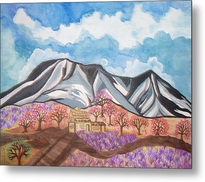 Metal Print featuring the painting Sawtooth Mountain Farm by Connie Valasco