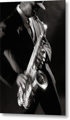Sax Man 1 Metal Print by Tony Cordoza