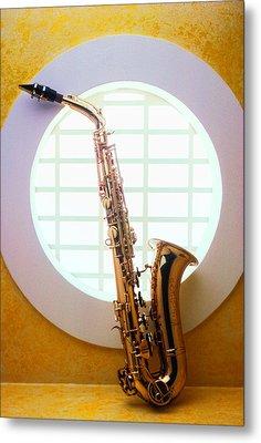 Saxophone In Round Window Metal Print by Garry Gay