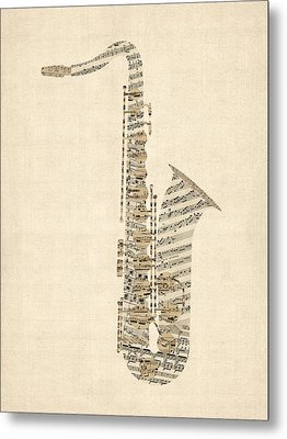 Saxophone Old Sheet Music Metal Print