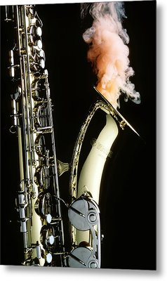 Saxophone With Smoke Metal Print by Garry Gay