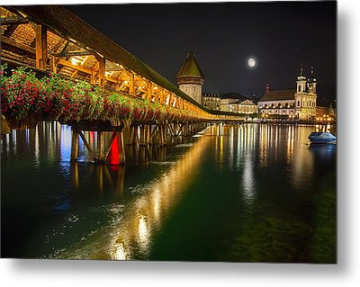 Scenic Night View Of The Chapel Bridge In Old Town Lucerne Metal Print by George Oze