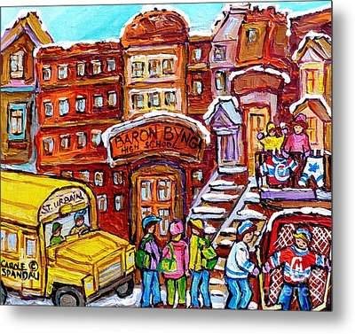 School Bus Rue St Urbain Baron Byng High Montreal 375 Hockey Art Colorful Street Scene Painting      Metal Print by Carole Spandau