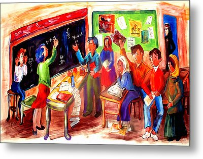 School Days In Morocco Metal Print by Patricia Rachidi