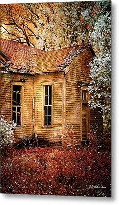 Schoolhouse In The Spring Metal Print by Julie Dant