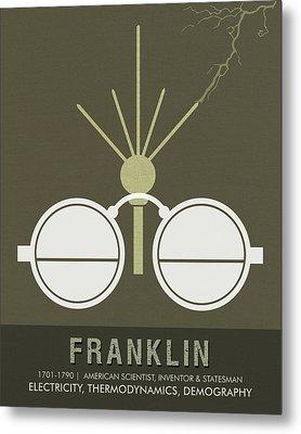 Science Posters - Benjamin Franklin - Scientist, Inventor, Statesman Metal Print