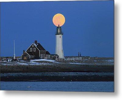 Scituate Lighthouse Snow Moon Metal Print by John Burk