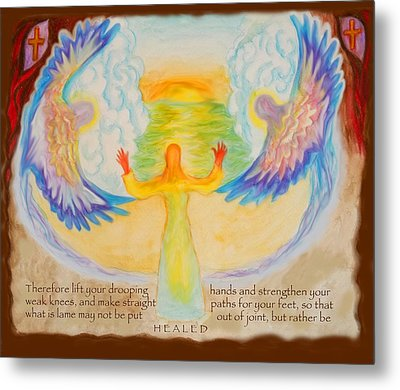 Scripture Illus. Hebrews Lift Your Drooping Hands Metal Print by Anne Cameron Cutri