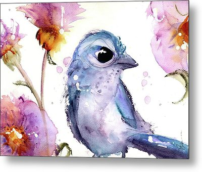 Metal Print featuring the painting Scrub Jay In The Wildflowers by Dawn Derman