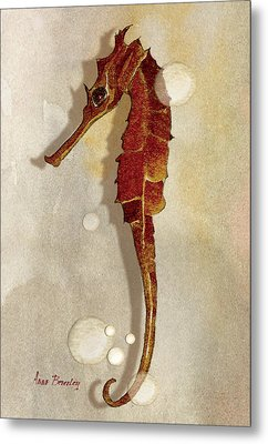 Sea Horse In Watercolor Metal Print by Anne Beverley-Stamps