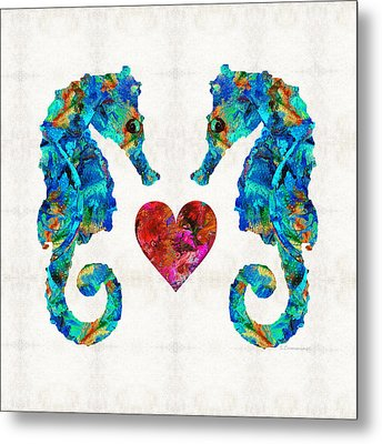 Sea Lovers - Seahorse Beach Art By Sharon Cummings Metal Print by Sharon Cummings