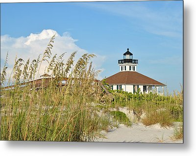Sea Oats And Lighthouse Metal Print by Steven Scott
