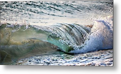 Sea Turtles In The Waves Metal Print by Barbara Chichester