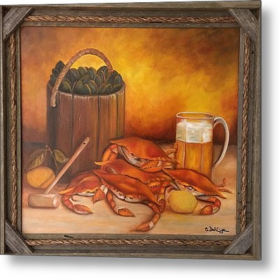 Metal Print featuring the painting Seafood Night by Susan Dehlinger