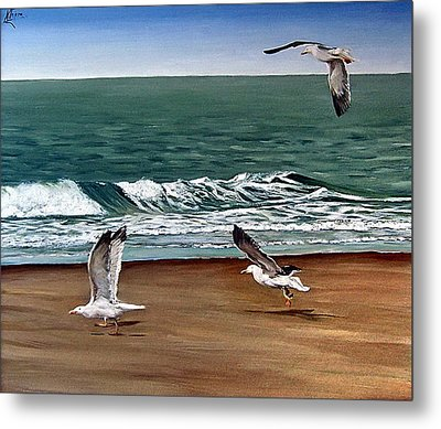 Metal Print featuring the painting Seagulls 2 by Natalia Tejera