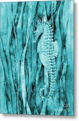Seahorse On Blue Metal Print