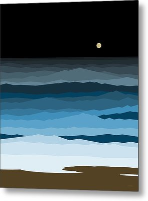 Seascape - Night Metal Print by Val Arie