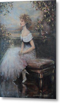 Seated Lady And Flowers Metal Print by Caroline Anne Du Toit