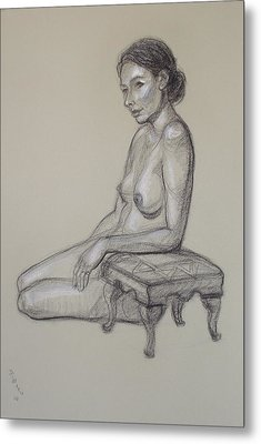 Seated Nude 3 Metal Print by Donelli  DiMaria