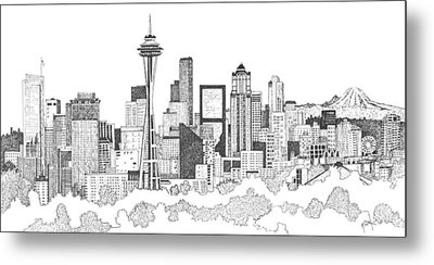 Seattle Skyline Ink Drawing Metal Print