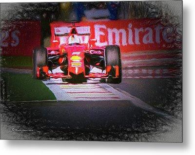 Sebastian Vettel's Ferrari Metal Print