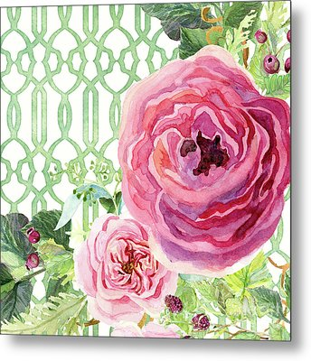 Metal Print featuring the painting Secret Garden 3 - Pink English Roses With Woodsy Fern, Wild Berries, Hops And Trellis by Audrey Jeanne Roberts