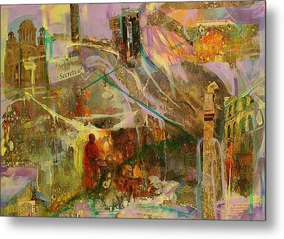 Metal Print featuring the mixed media Secrets by Mary Schiros
