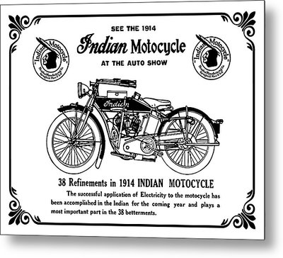See New 1914 Indian Motocycle At The Auto Show Metal Print
