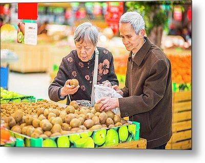 Senior Man And Woman Shopping Fruit Metal Print