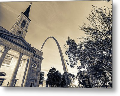 Sepia Sunrise - Downtown Saint Louis Gateway Arch And Old Cathedral Metal Print by Gregory Ballos