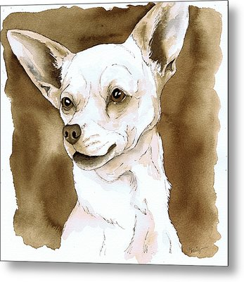 Sepia Tone Chihuahua Dog Metal Print by Cherilynn Wood