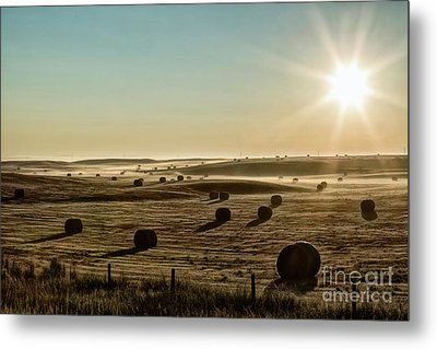 Metal Print featuring the photograph September Hay by Brad Allen Fine Art