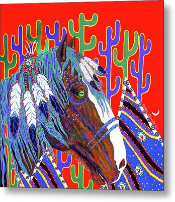 Metal Print featuring the painting Seven Feathers by Debbie Chamberlin