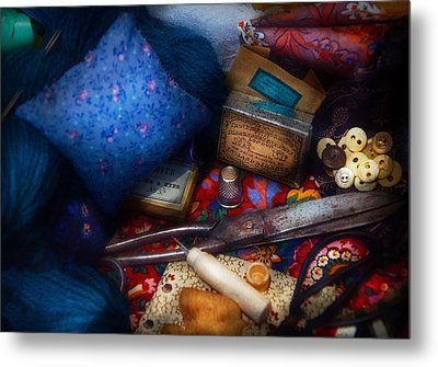 Sewing - Devoting To Sewing  Metal Print by Mike Savad