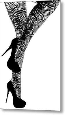Sexy Legs In Stilettos Metal Print