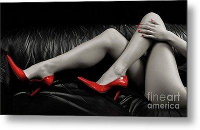 Sexy Woman Legs In Red High Heels Metal Print