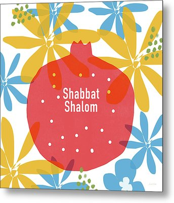 Shabbat Shalom Pomegranate- Art By Linda Woods Metal Print