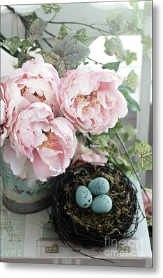 Shabby Chic Peonies With Bird Nest Robins Eggs - Summer Garden Peonies Metal Print by Kathy Fornal