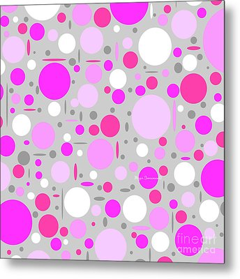Shades Of Pink And Gray Polka Dot Pattern By Megan Duncanson Metal Print