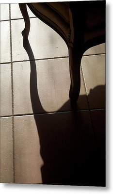 Shadow Of An Armchair On A Tiled Floor Metal Print by Sami Sarkis