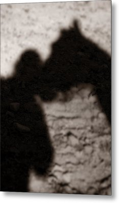 Shadow Of Horse And Girl - Vertical Metal Print by Angela Rath