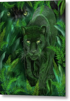 Metal Print featuring the mixed media Shadow Of The Panther by Carol Cavalaris